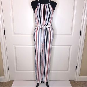 Forever 21 Striped Halter Jumpsuit
